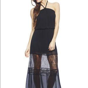 Arden B Black Lace Halter Dress (Maxi)